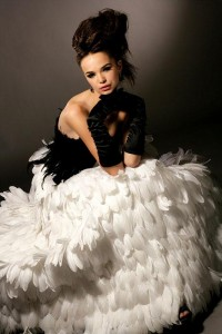 Black Swan Feather Prom Dress
